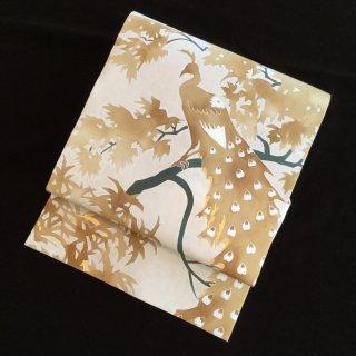 円窓O226*背の孔雀&胴の薔薇!型染め塩瀬・名古屋帯/リユース