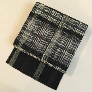 円窓O281*躍動感あるモノトーンの真綿紬・八寸帯/リユース