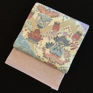 円窓O290*更紗のような花柄(未使用品)袋帯/リユース