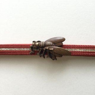 円窓C172*ユーモラスな虫・赤銅/アンティーク帯留め