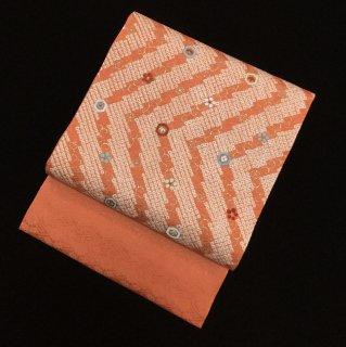 円窓O307*ちんまり刺繍♪鹿の子絞り名古屋帯/リユース