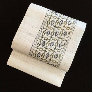 円窓O325*秀美な竹摺染の濃淡・麻(未使用品)夏/リユース名古屋帯