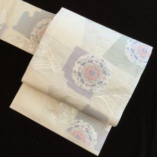 円窓O328*宝相華と色紙文・絽(未使用品)夏/リユース名古屋帯