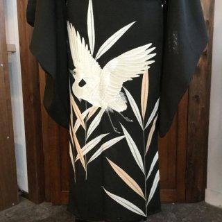 円窓K365*五つ紋入り白鷺・夏絽/アンティーク黒留袖