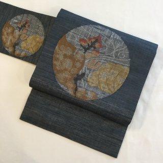 円窓O351*変調的な織と節!植物柄・夏紗/リユース名古屋帯