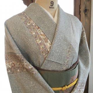 円窓K386*白砂利の小道を抜けて(未使用品)単衣/リユース小紋