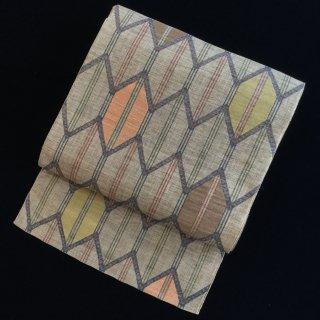 円窓O355*ポップな亀甲繋ぎ・八寸帯/リユース名古屋帯