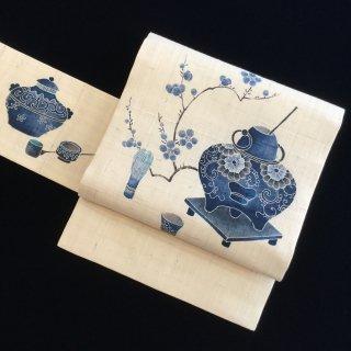 円窓O358*琉球藍型&生紬!梅花和雪香 ばいかゆきにわしてかんばし(未使用品)/リユース名古屋帯