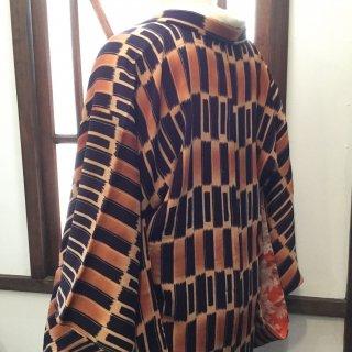 円窓K397*絣のような染め模様/アンティーク羽織