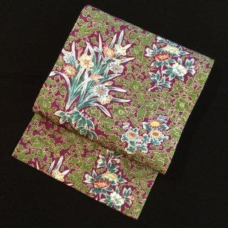円窓O372*花より彩を...苔色と葡萄色の融合/アンティーク名古屋帯