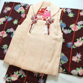 やゝK‐014*三歳用・網代文に淡い花々・縮緬地・一つ身/アンティーク着物