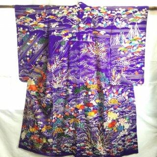 円窓K416*コレクション級の秀麗な刺繍!みめよい草花の世界・一つ紋/アンティーク訪問着