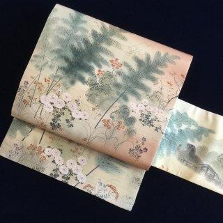 円窓O381*静けき里山の風景/アンティーク名古屋帯