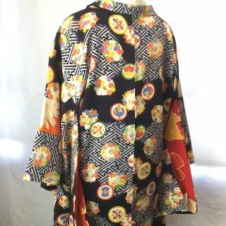 円窓K423*寸法あり♪愛らしい古典柄・宝物や花丸/アンティーク羽織