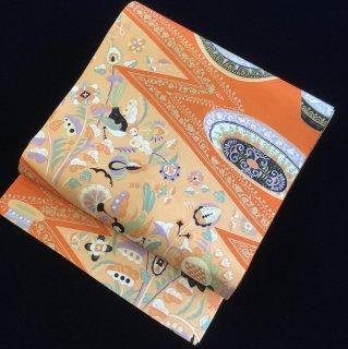 円窓O395*鳥たちの楽しいおしゃべり/アンティーク名古屋帯