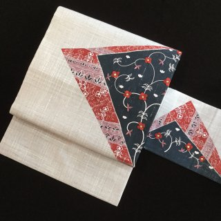 円窓O402*桜鼠色に小花の刺繍♪/リユース名古屋帯