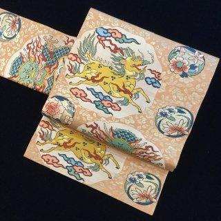 円窓O410*今が旬!!ユニークな表情の麒麟と龍/アンティーク名古屋帯