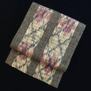 円窓O413*躑躅色が効いたざっくり八寸帯/リユース名古屋帯