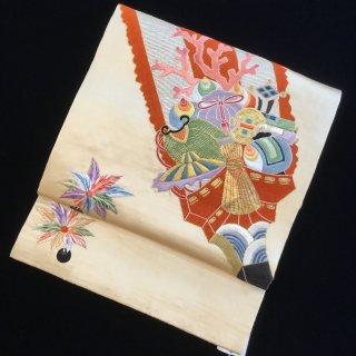 円窓O416*繊細な刺繍!宝物柄の羽子板/アンティーク袋帯