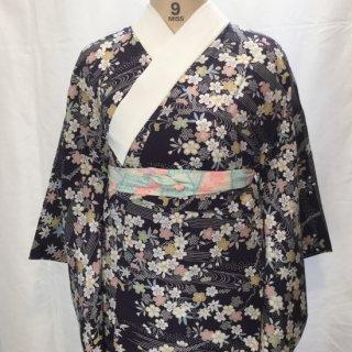 円窓C241*流水に桜と楓・無双仕立て単衣(未使用品)/リユース長襦袢