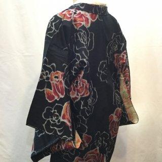 円窓K460*闇に咲く薔薇・銘仙/アンティーク羽織