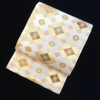 円窓O433*唐織・重ね菱文様(未使用品)/リユース袋帯