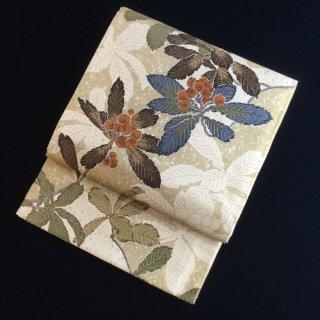 円窓O434*枇杷文様図・葉心(作家物)/リユース袋帯
