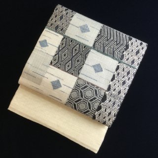 円窓O435*ざっくり織り♪変わり市松模様/リユース袋帯