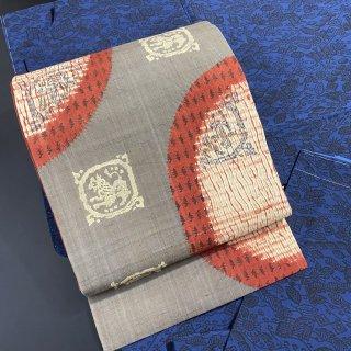 やゝO−026・生紬の風合いが良い・絞りに更紗柄名古屋帯・リサイクル