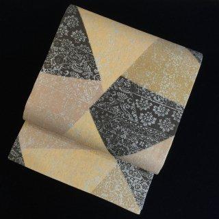 円窓O437*切嵌め調の型染め更紗/リユース袋帯