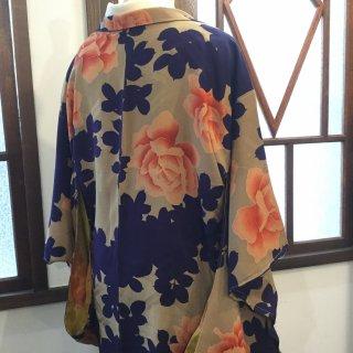 円窓K468*薔薇と木立のハーモニー/アンティーク羽織