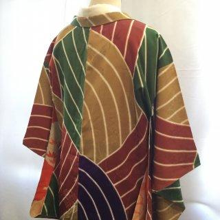 円窓K469*大胆な色合わせ♪一つ紋/アンティーク羽織