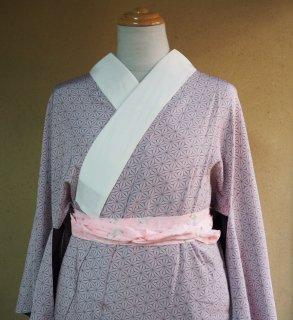やゝC‐001*淡紫色に麻の葉・無双仕立て単衣/リユース長襦袢