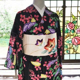 やゝK‐042*ジョーゼットに黒字ビビットカラーの秋草模様・単衣/アンティーク小紋着物