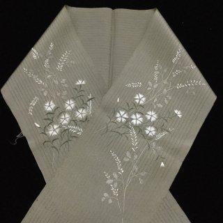 円窓C247*撫子と萩の刺繍・竪絽/アンティーク夏半衿