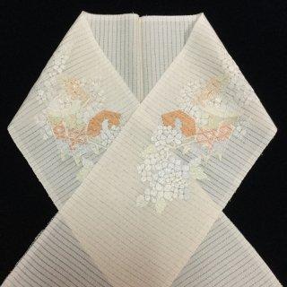 円窓C248*上品な刺繍!貝桶・絽ちりめん/アンティーク夏半衿