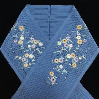 円窓C249*生き生きと夏色♪刺繍の小花・変わり竪絽/アンティーク夏半衿
