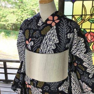 やゝK‐064*大胆な抽象的な花柄有松鳴海本絞り/リユース浴衣