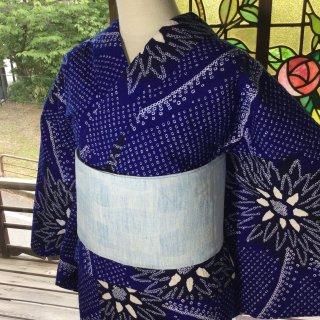 やゝK‐066*網目に菊模様有松鳴海本絞り・寸法有/リユース浴衣