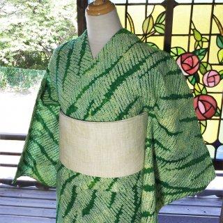 やゝK‐084*綺麗なグリーンゼブラ柄有松鳴海本絞り/リユース浴衣