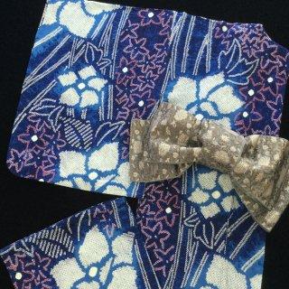 円窓K-516*星屑のような花に囲まれて・有松鳴海絞り/リユース浴衣