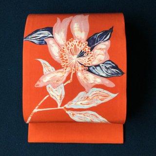 やゝO‐109*斬新なタッチの花模様塩瀬*開き名古屋帯 セミアンティーク
