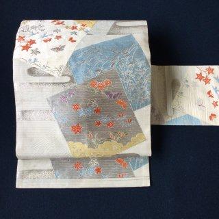 やゝO‐110*絽色紙古典柄の涼やかな*夏・名古屋帯アンティーク