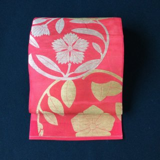 やゝO‐113*綺麗なピンクに花丸紋紗涼しい*夏・袋帯アンティーク