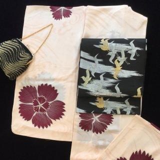 円窓K-521*撫子と透かし織りの立波文・夏/アンティーク小紋