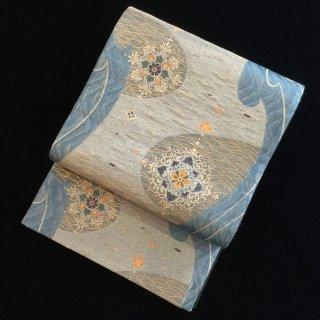 円窓O-470*青の世界・唐花と波文・夏(未使用品)/リユース袋帯