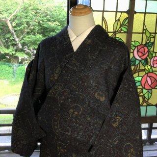 やゝK‐107*ちぢみ織り更紗模様染め夏きもの/アンティーク小紋