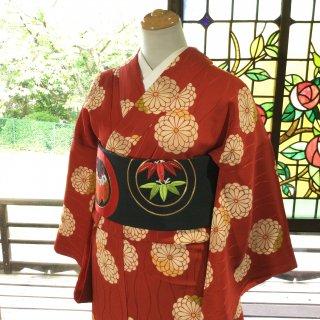 やゝK‐125*立涌地紋に菊尽くし小紋/アンティーク着物
