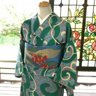 やゝK‐126*ちょっと毒カラー★細かい笹に大胆な唐草小紋/アンティーク着物