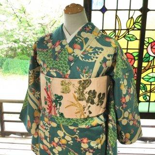 やゝK‐127*綸子地古典花柄ブルーグレー小紋/アンティーク着物